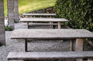 Furniture from a natural stone in external furnish
